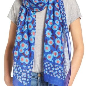 Kate Spade blue tangier flower oblong scarf